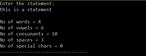program to find number of vowel and consonants in C