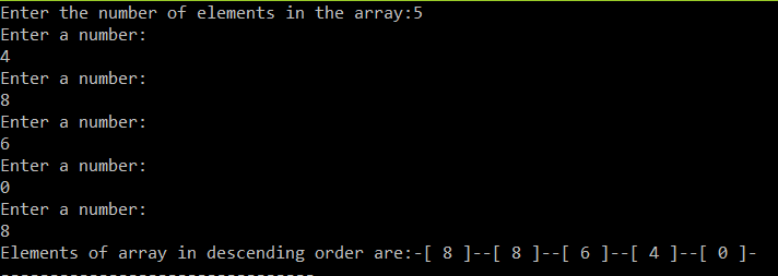 programt to sort the array in descending order.