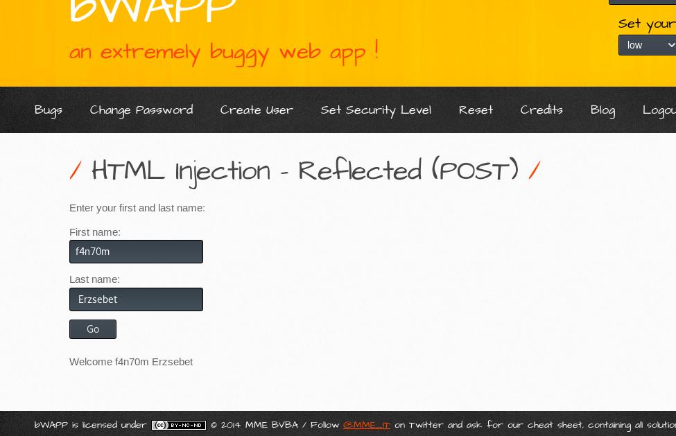 html injection post method bwapp 4