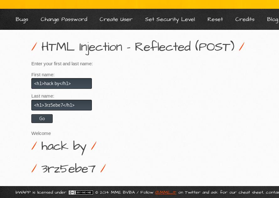 html injection post method bwapp