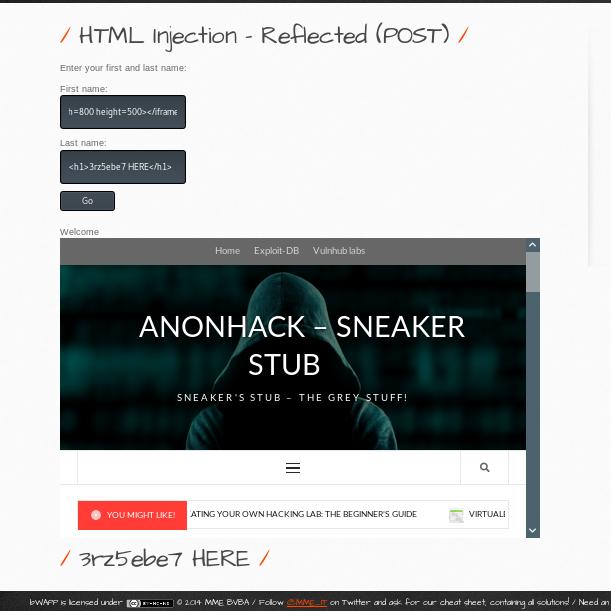 html injection post method bwapp 5